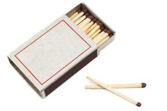 Matches in a matchbox it is isolated on a white background Stock Photos