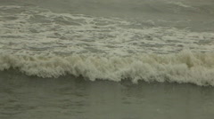 Green Ocean Waves Rolling In, Storm Approaching Stock Footage