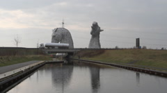 Timelapse of Kelpies and Forth and Clyde Canal Falkirk Scotland Stock Footage