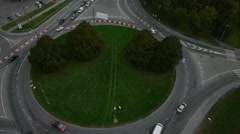 crossroad roundabout traffic circle aerial - stock footage