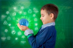 Recycling concept ,little boy holding a lighting ball in hand Stock Illustration