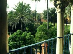 Splendid view from terrace alcazar in Sevilla NTSC Stock Footage