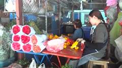 Thailand Bangkok flower market Stock Footage