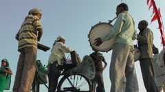 Musical band at Sangam,Allahabad,India Stock Footage