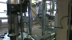 Chemical plant interior-pipes-manometer-tank Stock Footage