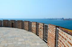Greece, Thessaloniki, observation deck of  White Tower - stock photo