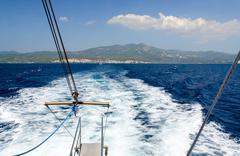 Sea walk on a yacht near the peninsula of Sithonia, Greece Stock Photos