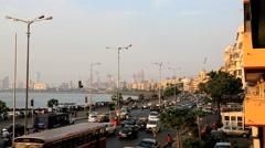 Mumbai Marine drive city skyline travel sunset India Stock Footage