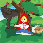 Little Red Hood and gray wolf Stock Illustration
