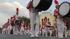 Musical band parade at the king's birthday,Bangkok,Thailand Stock Footage