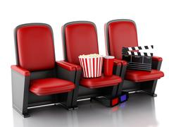 3d Cinema clapper board, popcorn and drink on theater seat. - stock illustration