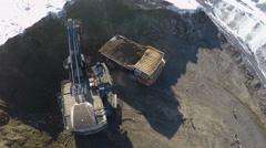 Aerial view huge quarry trucks4k Stock Footage