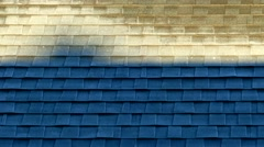 Frosty Roof Melting in morning sunlight, time lapse, heat waves Stock Footage