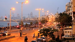 Mumbai India Marine drive city skyline travel Stock Footage
