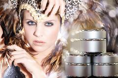 Model with feather headdress Stock Photos