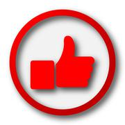 Thumb up icon. Internet button on white  background.. - stock illustration