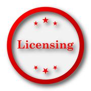 Stock Illustration of Licensing icon. Internet button on white  background..