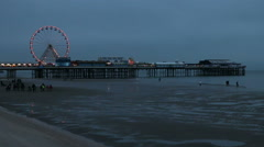 Blackpool pier big wheel at dusk Stock Footage
