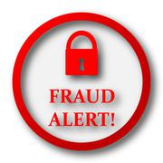 Fraud alert icon. Internet button on white  background.. - stock illustration