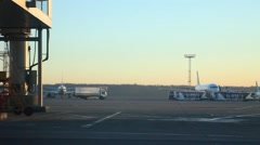 Aircraft, Runway area before taking off Stock Footage