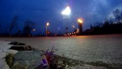 Timelapse on street with lights turning on Stock Footage