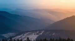 Evening Fog Covering the Mountain Stock Footage