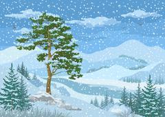 Mountain Winter Landscape - stock illustration
