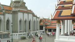 Courtyard at Wat Phra Kaew, Temple of the Emerald Buddha, Bangkok, Thailand Stock Footage