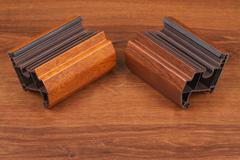 The Single PVC Corner Wood Decor on the wood - stock photo