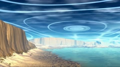 3D rendered fantasy alien planet. Rocks and sky - stock footage