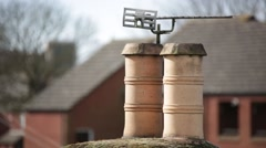 Traditional English chimney made of clay Stock Footage