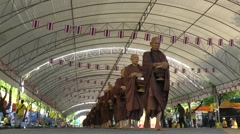 Procession of monks  a day before the king's birthday,Bangkok,Thailand Stock Footage