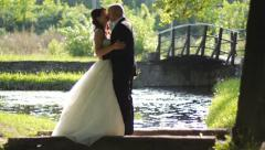 bride and groom kissing in the park - stock footage