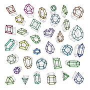 Hand drawn gemstones abstraction vector illustration - stock illustration