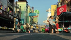 Early morning light in Khoa San road,Bangkok,Thailand Stock Footage