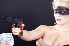 Fashion face in black airbrush with gun Stock Photos