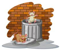 Rats playing with the trashbin - stock illustration