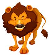 Dangerous lion - stock illustration