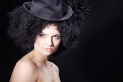 Woman in afro look and burlesque style Stock Photos