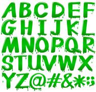 Letters of the alphabet in a melting green template Stock Illustration