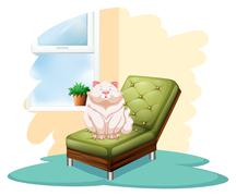 Cat above the chair - stock illustration