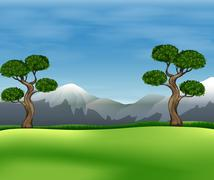 Beautiful view of the green field - stock illustration