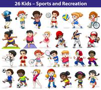 Kids engaging in different activities - stock illustration