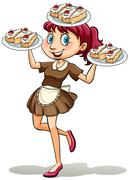 Lady selling cakes - stock illustration