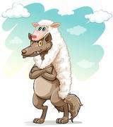 Sheep hugging the wolf - stock illustration