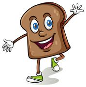 Loaf of bread with a face - stock illustration