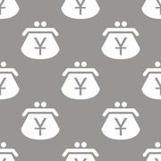 Yen purse seamless pattern - stock illustration