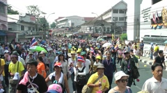 Masses of anti-goverment protesters,Bangkok,Thailand Stock Footage