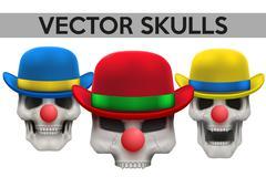 Set of Vector Human skulls with clown hat on head - stock illustration