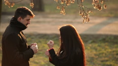 Couple in love having fun in the park Stock Footage